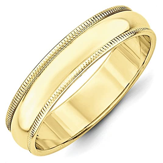 10k Yellow Gold 5mm Milgrain Half Round Band Ring - Ring Size Options Range: H to Z