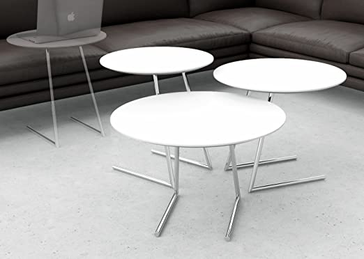 Cricket Table Set - Coffee Table + End Table + Side Table / Laptop Table (White)
