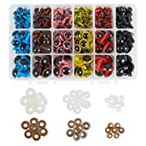 PH PandaHall 240 Pieces 6 Color 3 Size Plastic Safety Eyes Craft Eyes with 240 Pieces Washers for Doll, Puppet, Plush Animal Making (Color: 6 Color 3 Size Safety Eyes (240pcs))