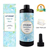 LET'S RESIN Clear UV Resin,500g Hard Type Transparent UV Curing Ultraviolet Cure Resin, Solar Cure Sunlight Activated Resin Clear Adhesive Glue