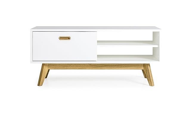 Tenzo 2161–001Bess Designer TV del Banco di legno, bianco/rovere, 43x 114x 50cm