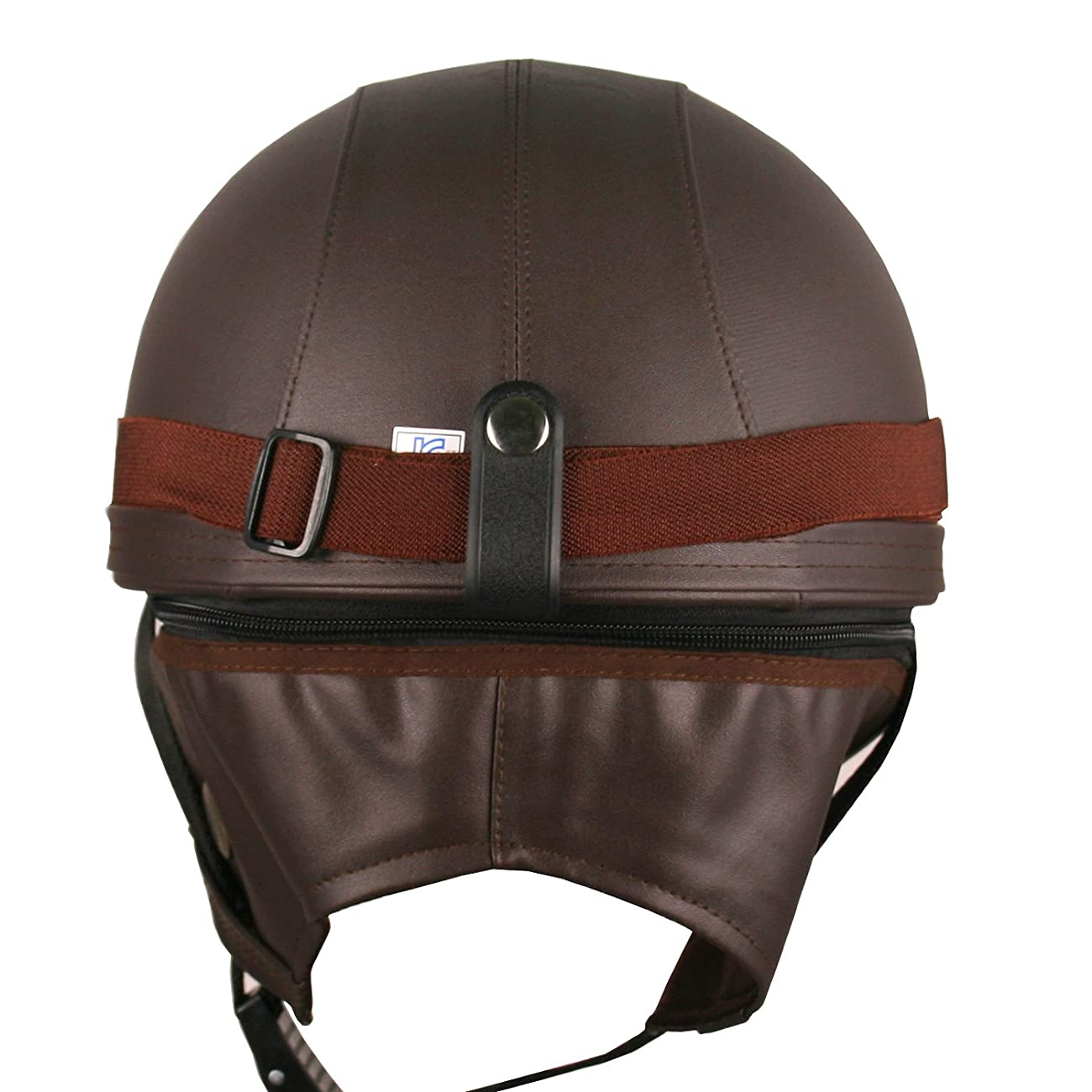 Leather Goggles German Vintage Style Half 1/2 Helmet Motorcycle Biker Cruiser Scooter Touring Helmet (Brown) 3