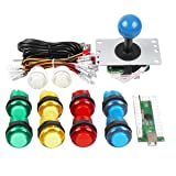 Gamelec Arcade Buttons and Joystick Kit for Raspberry Pi with Retro Pie System and PC Video Games, Zero Delay USB Encoder and Coloured LED Illuminated Push Buttons DIY Kits for Mame