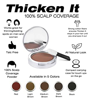 Thicken It 100% Scalp Coverage Hair Powder - LIGHT BROWN - Talc-Free .32 oz. Water Resistant Hair Loss Concealer for men and women. Naturally Thicker Than Hair Fibers & Spray Concealers (Color: Light Brown)