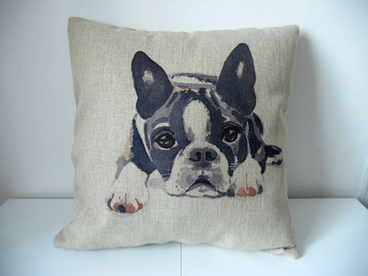 "Cotton Linen Square Decorative Throw Pillow Case Cushion Cover Cute Dog 18 ""X18 """