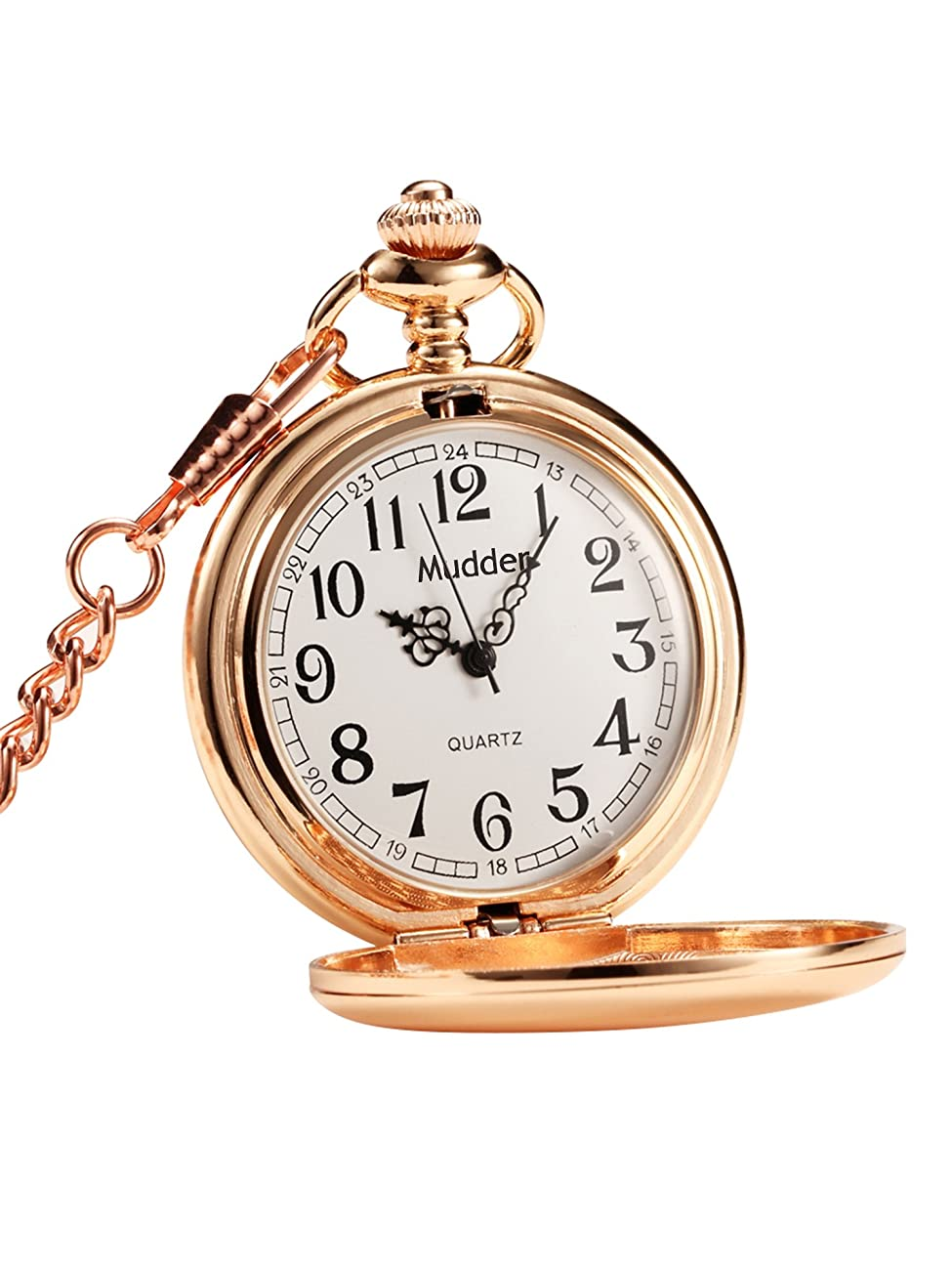 Mudder Classic Smooth Vintage Steel Pocket Watch For Men, Rose Golden 0