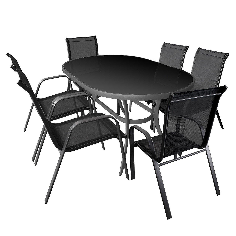 7tlg Gartenmöbel Set Gartengarnitur Sitzgruppe Aluminium Glastisch schwarze Tischglasplatte 140x90cm Gartenstuhl Stapelstuhl pulverbeschichtet mit Textilenbespannung Sitzgarnitur Terrassenmöbel bestellen