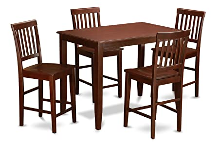 East West Furniture BUVN5-MAH-W 5-Piece Counter Height Dining Table Set, Mahogany Finish