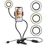 Selfie Ring Light with Cell Phone Holder Stand for Live Stream/Makeup, UBeesize LED Camera Lighting [3-Light Mode] [10-Level Brightness] with Flexible Arms Compatible iPhone 8 7 6 Plus X 6s SE Android (Color: Black)