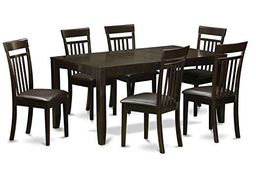 East West Furniture LYCA7-CAP-LC 7-Piece Dining Table Set, Cappuccino Finish