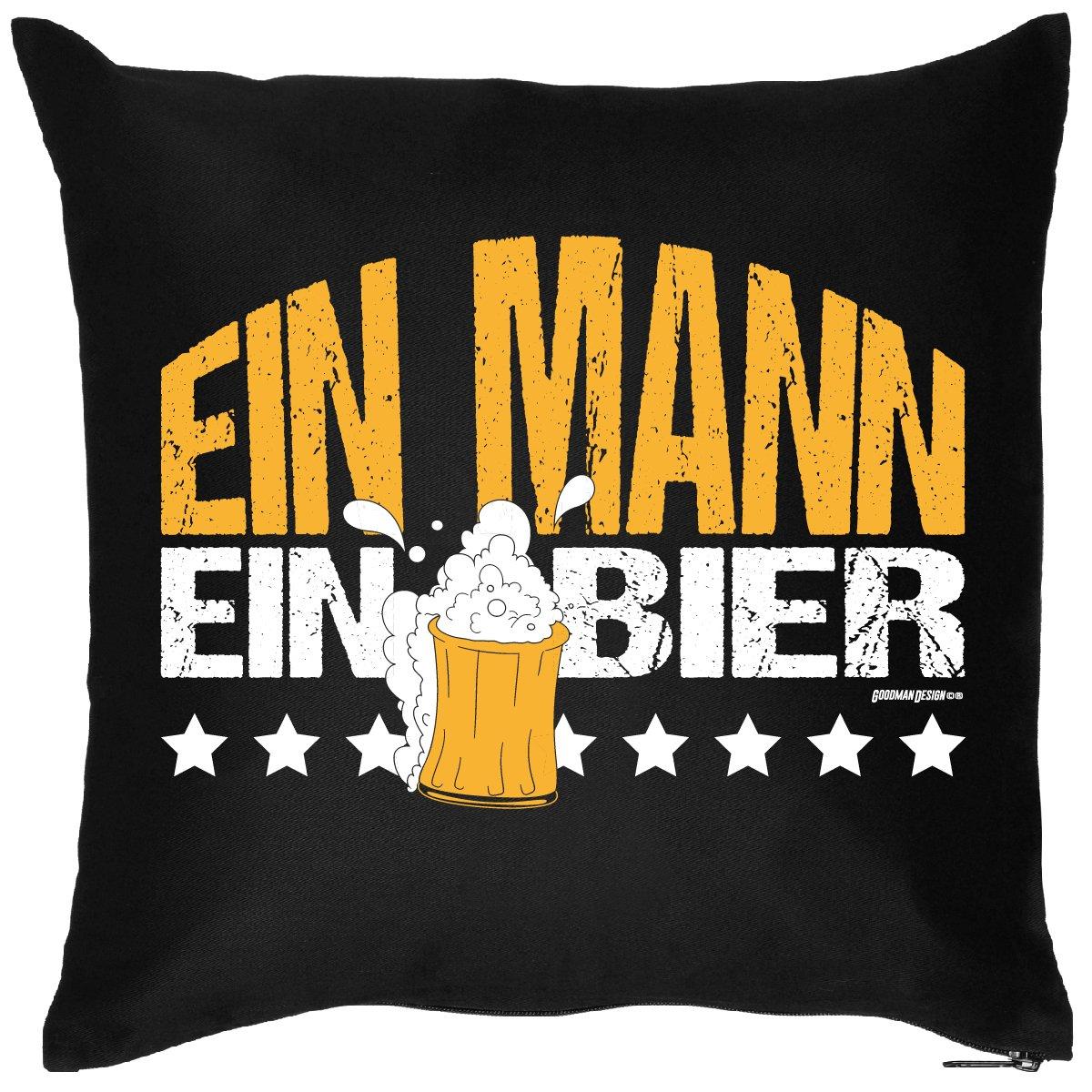 Bier-Kissenbezug; EIN MANN – EIN BIER, Schwarz, ein ideales Mitbringsel zu Bier und Grillpartys online bestellen