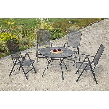 MERXX Gartenmöbel-Set Tarent 5-tlg. Klappsessel, 5-fach verstellbar, Tisch, Ø 100 cm