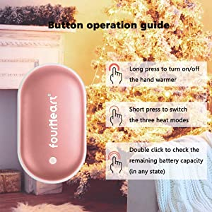 Fourheart Hand Warmers, 5200mAh Portable Double-Side Hand Warmer Rechargeable/Power Bank for iPhone,Samsung,Helps for Soothe The Pain and Uncomfortable of Arthritis Sufferers, Best Winter Gift (Color: Rose Gold, Tamaño: Type USB)