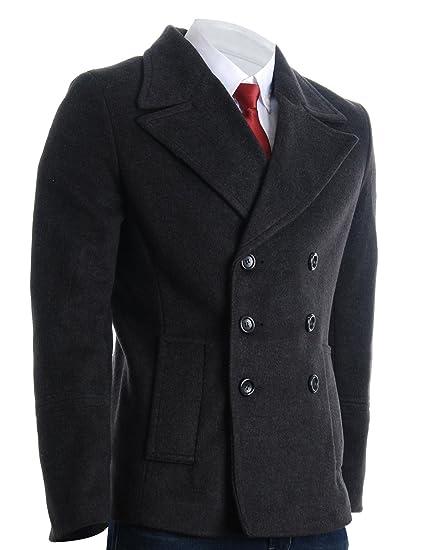 FLATSEVEN Mens Winter Double Breasted Pea Coat Short Jacket