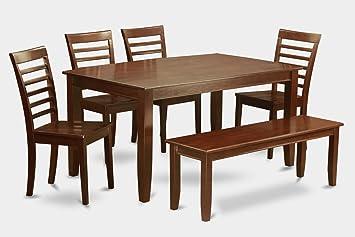 East West Furniture DUML6D-MAH-W 6-Piece Dining Table Set