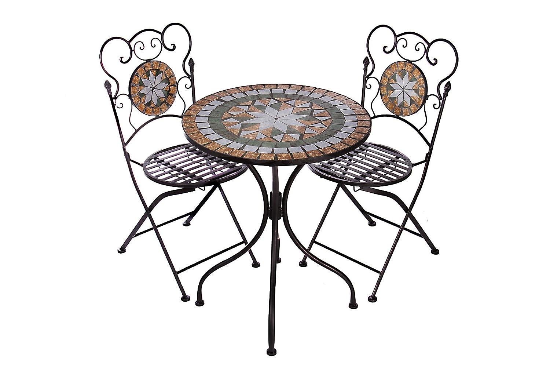 Hochwertiges aufwendig gearbeitetes Mosaik Tisch Set, NA914-B017 stabiles Gartenmöbel Set, Balkonset, Bistroset, Schweres beschichtetes Metall, Wetterfest, Tisch und 2 Stühle jetzt bestellen