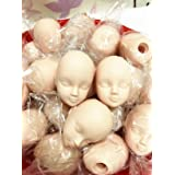 ZHONGJIUYUAN 10pcs Soft Plastic Toy Practice Makeup Doll Head 1/6 White Double-fold Eyelid DIY Heads for BJD Make Up (Color: White)