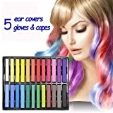 Temporary Hair Coloring Dye Chalks - 24 Colors Instant Cosplay Hair Color Dyeing Paint Chalk Set with 5 Pairs Ear Covers, Gloves & Capes for Teens Kids Child Boy Girl by wonder X (Color: multicolor)