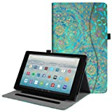 Fintie Case for All-New Amazon Fire HD 10 Tablet (7th Generation, 2017 Release) - [Multi-Angle Viewing] Folio Stand Cover with Pocket Auto Wake/Sleep for Fire HD 10.1 Inch Tablet, Shades of Blue (Color: Z- Shades of Blue)