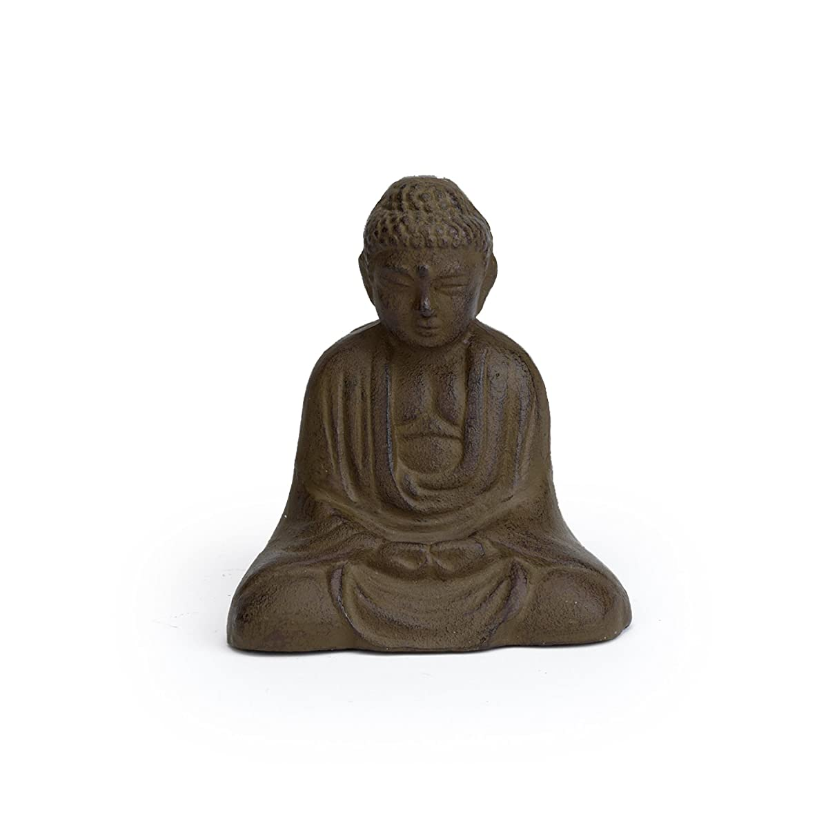 Abbott Collection Cast Iron Sitting Buddha Garden Sculpture, Brown