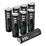 EBL AA Rechargeable Batteries, 1.2V 1100mAh High Capacity Ni-CD AA Battery for Solar Garden Lights (Pack of 8) (Tamaño: 8 Pack)