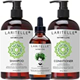 Laritelle Organic Hair Growth Set | Shampoo 17 oz + Conditioner 16 oz + Hair Loss Treatment 4 oz | Organic Quinoa + Keratin + Rosemary, Ginger & Grapefruit | NO GMO, SLS, Gluten, Parabens, Phthalates (Tamaño: Shampoo+Conditioner+Treatment)