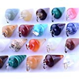 Healing Chakra Pendulum Cone Dowsing Divination Stone Pendants 12pcs Mutilcolor Stone Crystal Quartz Stone Charms Lot for Women jewelry making (Color: mixed color, Tamaño: 30mm*15mm)