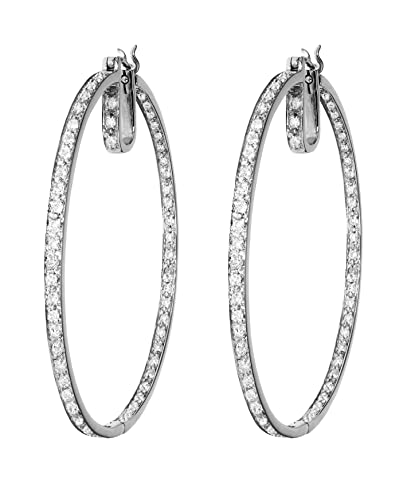 18ct White Gold 1.14ct Diamond Large Hoop Earrings