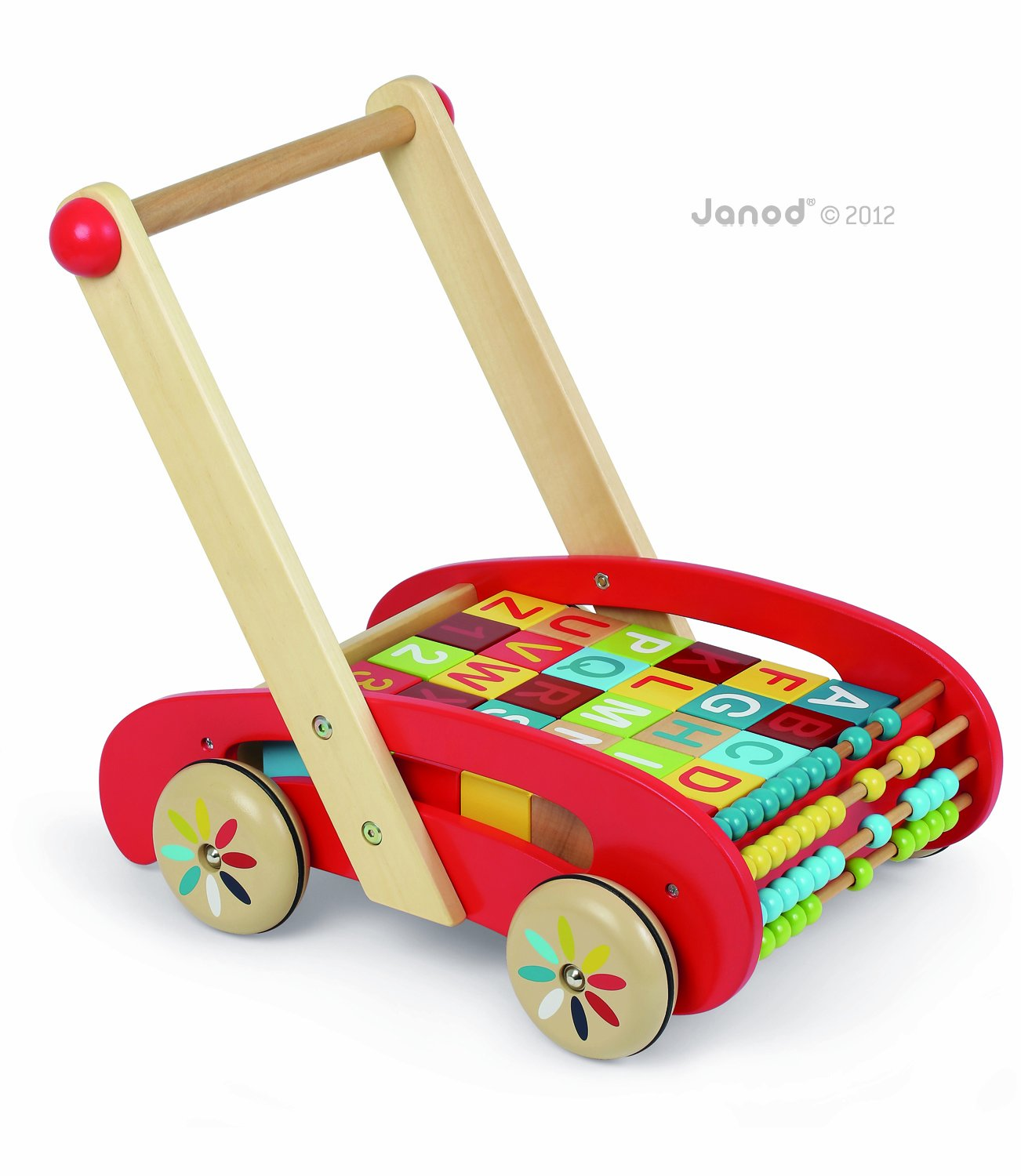Janod Abc Buggy with wooden alphabet blocks and abacus