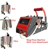 4 in 1 Heat Transfer Sublimation Mug Cup Heat Press Transfer Printing Machine for Coffee Mugs Cups with Four Stainless Steel Mug Attachments 6OZ 10OZ 11OZ 12OZ Bosstop (Color: 4 IN 1 Mug Press Machine, Tamaño: Mug Press Machine & Attachment)