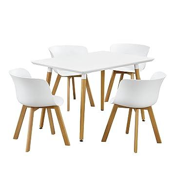[en.casa]® Essgruppe - Esstisch mit 4 Stuhlen Design - weiß - 120x80cm