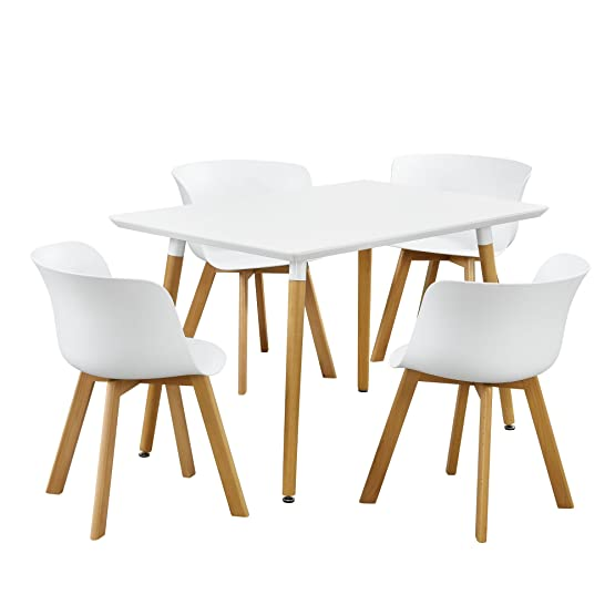 [en.casa]® Tavolo da pranzo con 4 sedie biance 120x70cm tavolo da cucina sala da pranzo