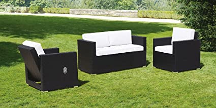 My Furniture - Cubo Black and Ivory Lounge Set
