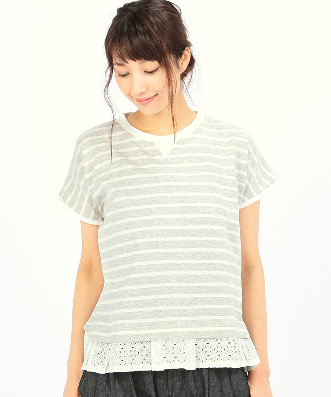Amazon.co.jp: (コーエン) COEN レース切替ボーダートップス: 服&ファッション小物通販