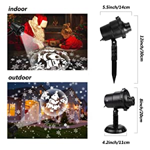 Christmas Projector Lights Outdoor Rotating Snowflake LED Christmas Lights, Waterproof Projector Decorating Stage Light Outdoor Snowfall Holiday Party Garden Landscape Lamp (Color: 3d Lights)
