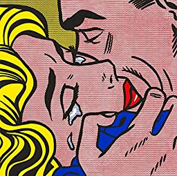 31W x 31H Kiss V by Roy Lichtenstein - Stretched Canvas w/ BRUSHSTROKES