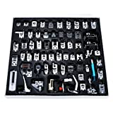 Presser Foot Set 62 PCS, Professional Domestic Sewing Machine Presser Feet Set Hem Foot Spare Parts Accessories Multi-Functional Kit for Singer, Brother, Feiyue, Janome, Kenmore, Babylock (62 PCS) (Color: Silver, Black, Blue, Tamaño: 62 PCS)