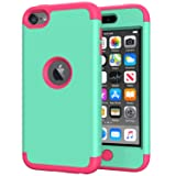 iPod Touch 7th Generation Case for Girls, iPod Touch 6 Case, SLMY(TM) Heavy Duty Full-Body Protective Case with Dual Layer Hard PC+ Soft Silicone for Apple iPod Touch 5/6/7th Generation Mint/Rose Red (Color: Mint/Rose Red)