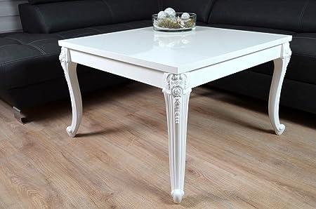 Barock Couchtisch Holz Hochglanz weiß Wohnzimmer Lack Tisch Beistelltisch 80x80cm