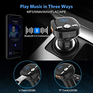 Bluetooth FM Transmitter for Car, Clydek V5.0 Bluetooth Car Adapter Wireless Radio Adapterwith Hand-Free Calling, Dual USB & QC3.0 Fast Charging, Mu