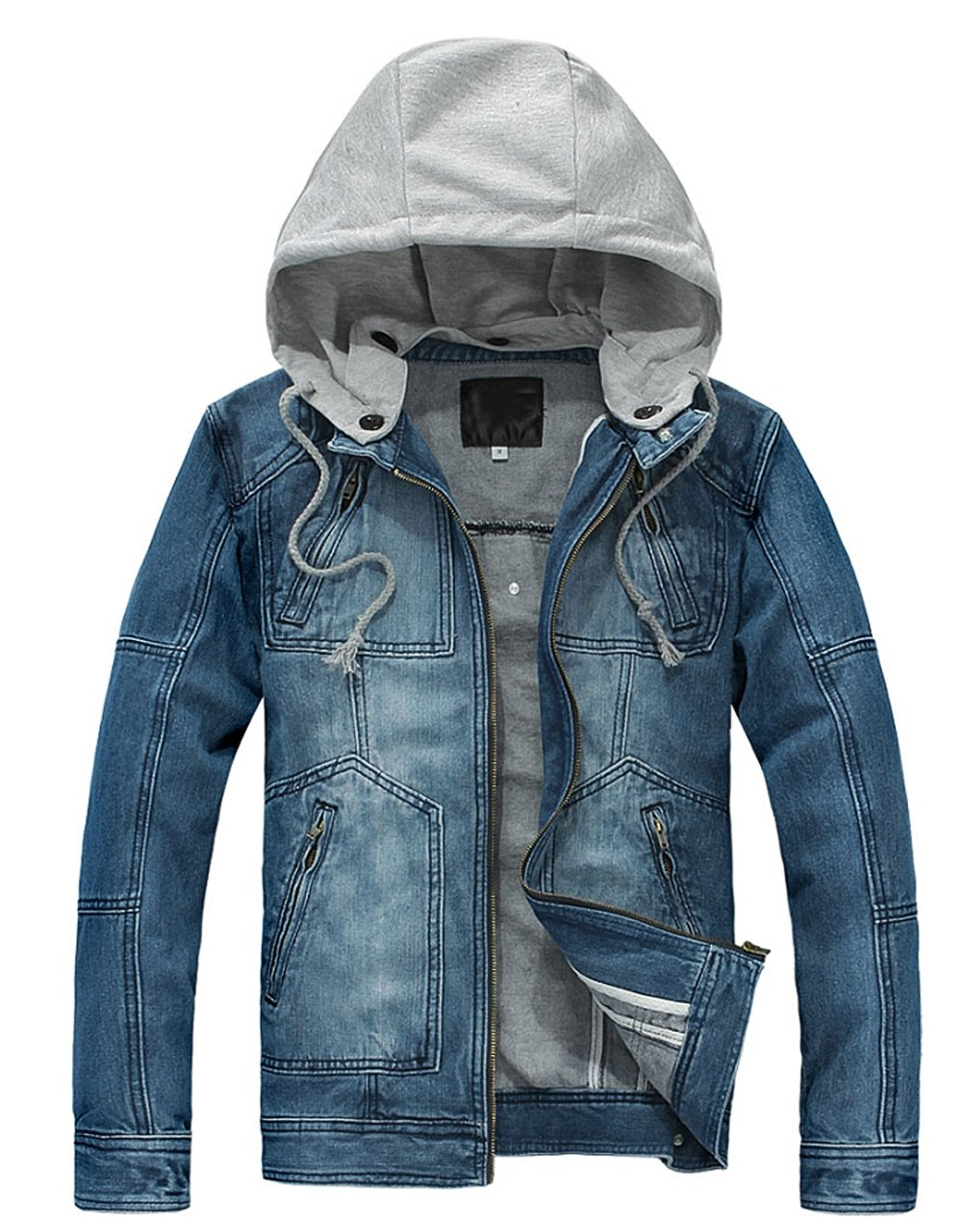 Wantdo Men's Fashion Faux Jackets Pu Leather Jackets With Removable Hood With Gift Mens Fashion Long Sleeve Zip