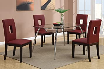 Poundex F2225 & F1067 Glass Table Top W/ Red Leatherette Chairs Dining Set