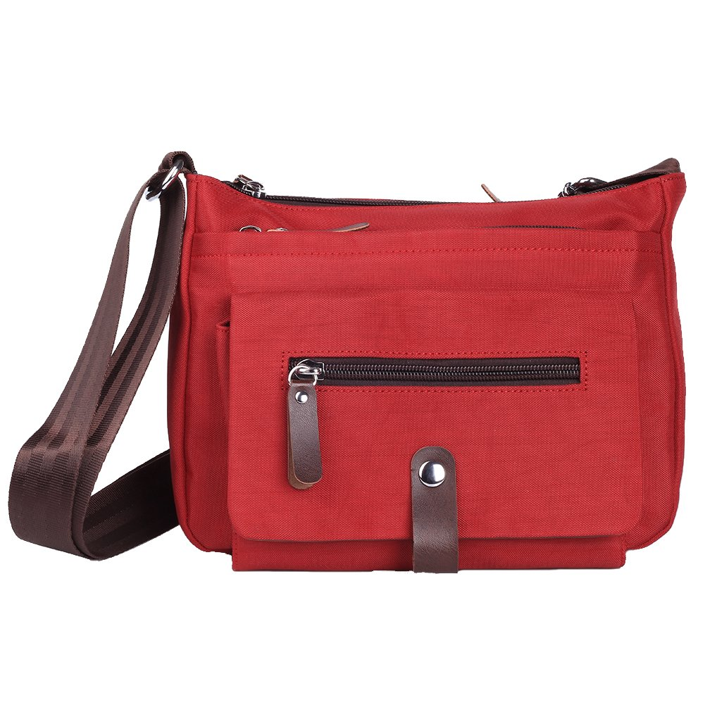 Generic Nylon Multi Zipper Pocket Small Cross Body Women's Shoulder Bag (Red)