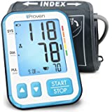 iProven Home Blood Pressure Monitor - Digital Blood Pressure Meter with Upper Arm Cuff - Large Screen with Backlight - 120-reading Memory (60x2 Users) - Batteries Included (Color: Blue, Tamaño: Large)