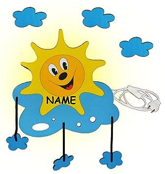 Wandlampe aus Holz - Sonne mit 3-D Wolken incl. Namen ...