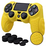 MXRC Silicone GRIP cover skin case anti-slip for PS4/SLIM/PRO controller x 1(yellow) + FPS PRO extra height thumb grips x 8 (Color: 3D Grip Yellow, Tamaño: 3D Grip)
