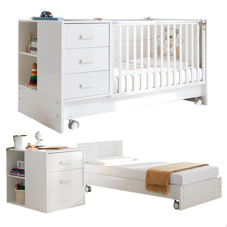 Pali Kinderbett umbaubar zum Jugendbett / Juniorbett mit Nachtschrank Zoom Weiß günstig