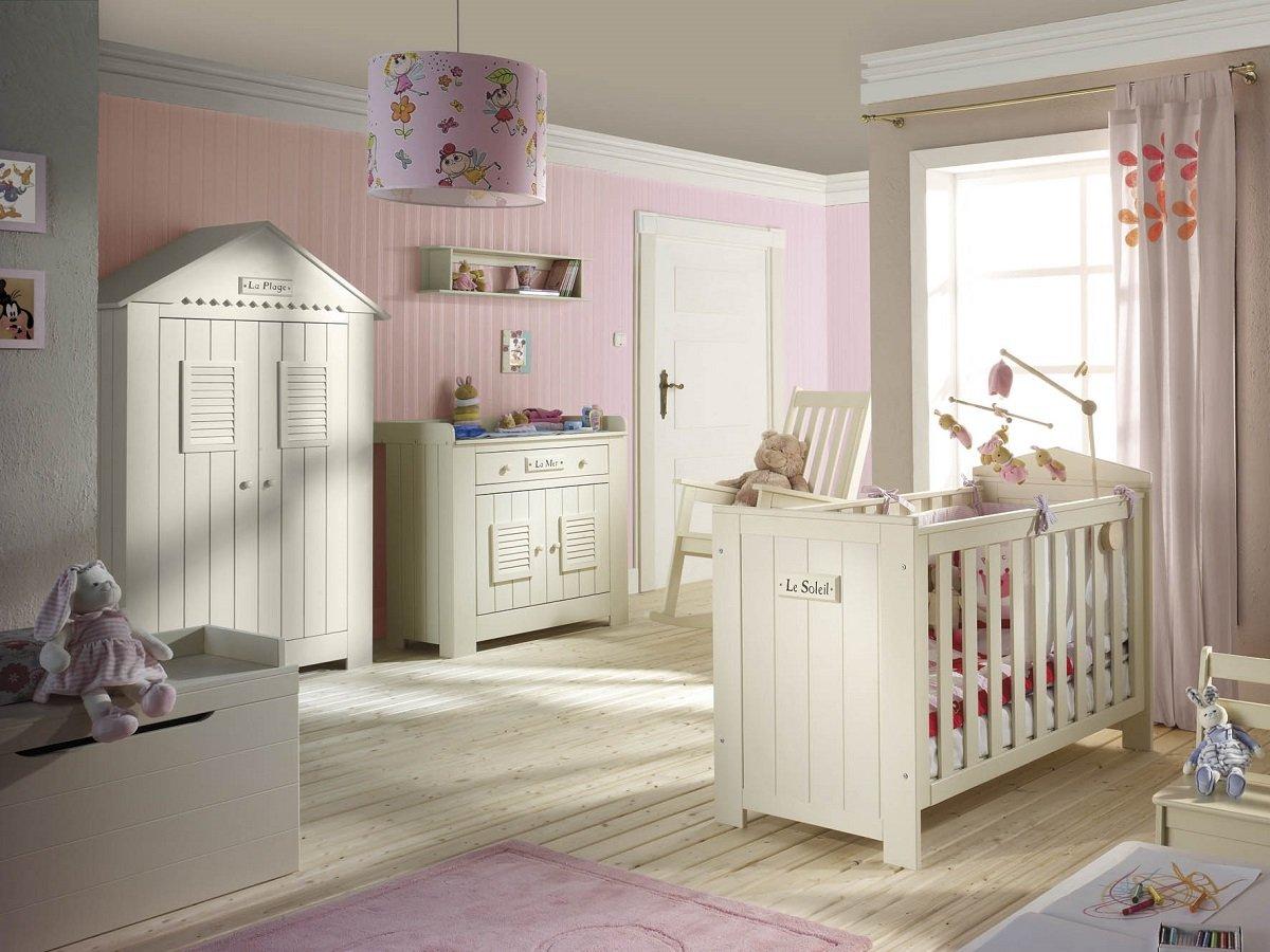 Babyzimmer Kinderzimmer SAINT-TROPEZ weiss, Holz massiv, Komplettset A, Bett Schrank Kommode jetzt kaufen