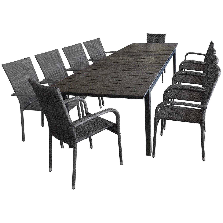 11tlg gartenm bel terrassenm bel set sitzgarnitur sitzgruppe gartengarnitur ausziehtisch. Black Bedroom Furniture Sets. Home Design Ideas