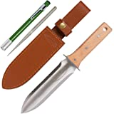 Hori Hori Garden Knife with FREE Diamond Sharpening Rod, Thickest Leather Sheath and Extra Sharp Blade - in Gift Box. This Knife Makes a Great Gift for Gardeners and Campers! (Color: Green)